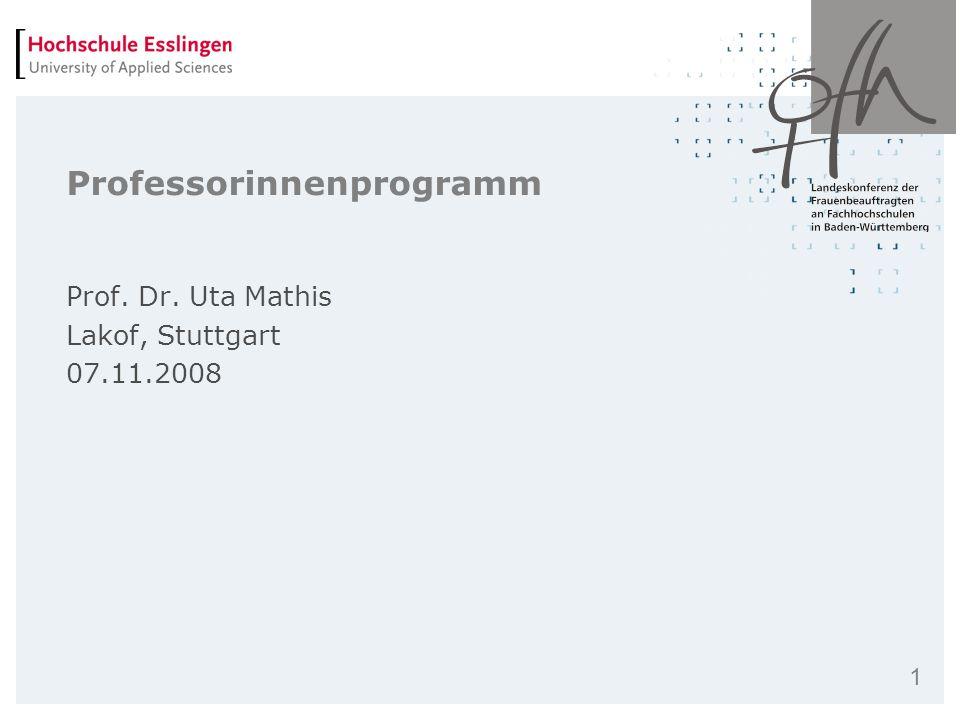 1 Professorinnenprogramm Prof. Dr. Uta Mathis Lakof, Stuttgart 07.11.2008