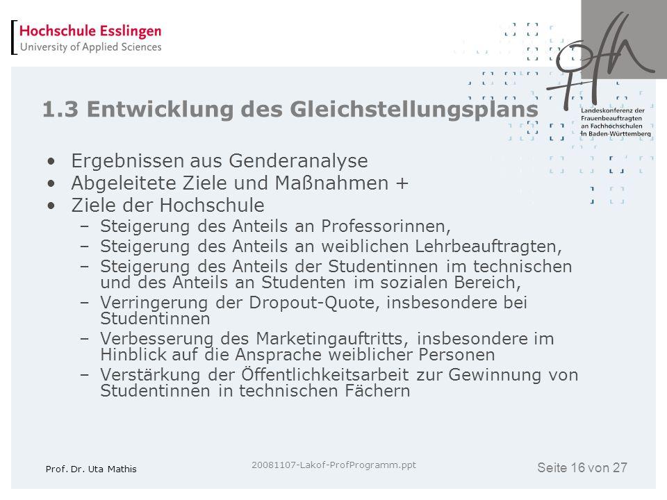 Seite 16 von 27 Prof. Dr. Uta Mathis 20081107-Lakof-ProfProgramm.ppt 1.3 Entwicklung des Gleichstellungsplans Ergebnissen aus Genderanalyse Abgeleitet