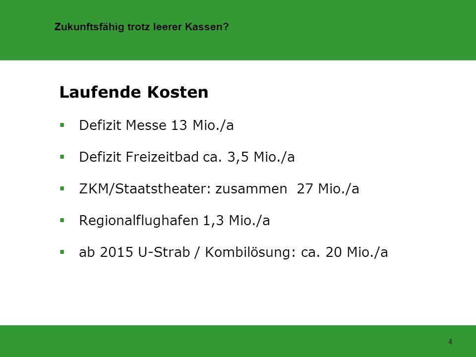 Zukunftsfähig trotz leerer Kassen? 4 Laufende Kosten Defizit Messe 13 Mio./a Defizit Freizeitbad ca. 3,5 Mio./a ZKM/Staatstheater: zusammen 27 Mio./a