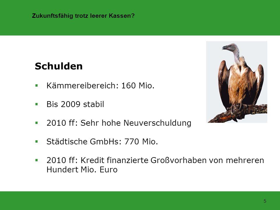 Zukunftsfähig trotz leerer Kassen? 5 Schulden Kämmereibereich: 160 Mio. Bis 2009 stabil 2010 ff: Sehr hohe Neuverschuldung Städtische GmbHs: 770 Mio.