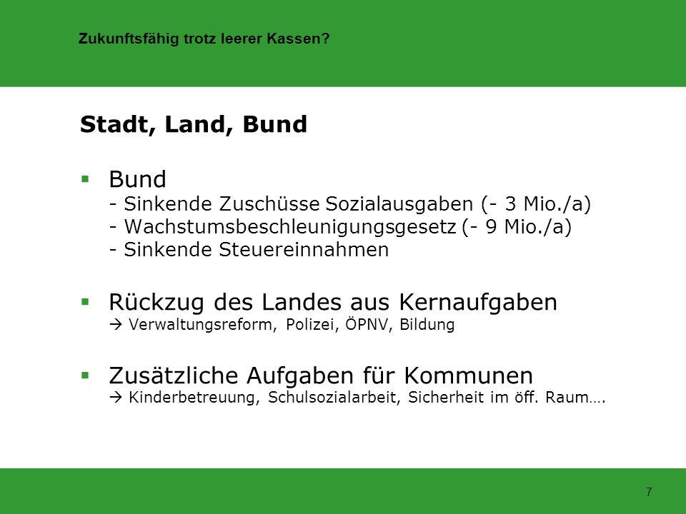 Zukunftsfähig trotz leerer Kassen? 7 Stadt, Land, Bund Bund - Sinkende Zuschüsse Sozialausgaben (- 3 Mio./a) - Wachstumsbeschleunigungsgesetz (- 9 Mio