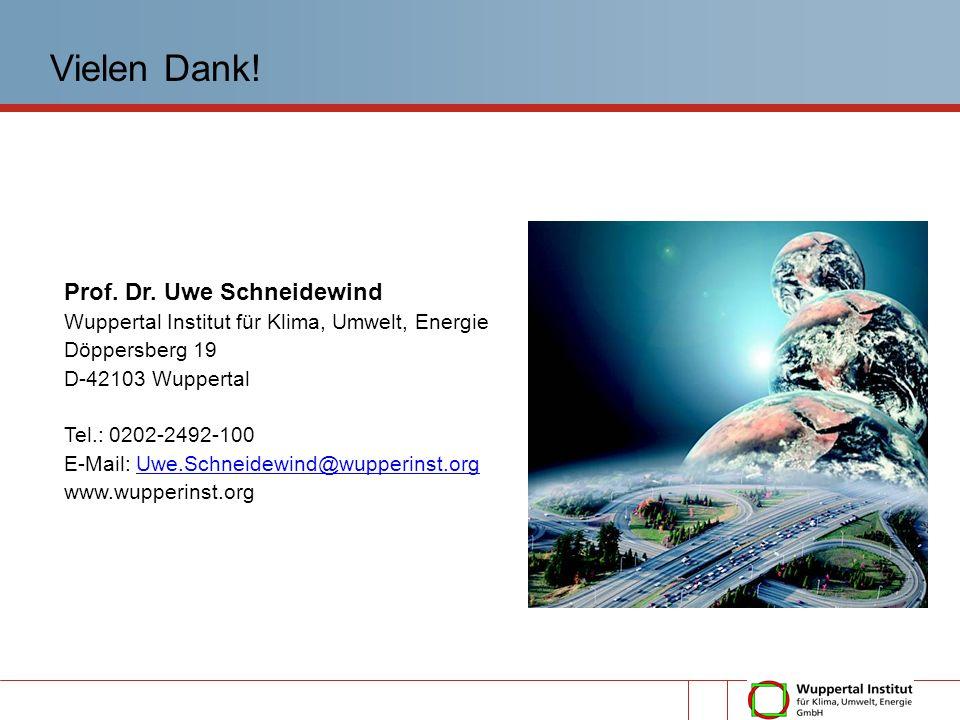 Prof. Dr. Uwe Schneidewind Wuppertal Institut für Klima, Umwelt, Energie Döppersberg 19 D-42103 Wuppertal Tel.: 0202-2492-100 E-Mail: Uwe.Schneidewind