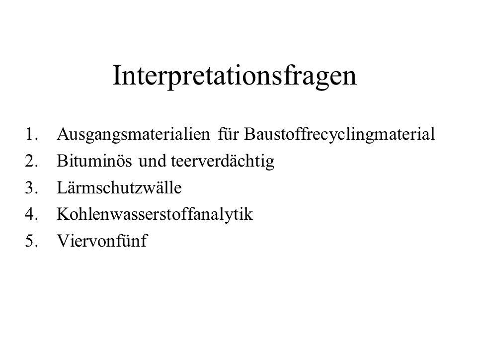 Interpretationsfragen 1.Ausgangsmaterialien für Baustoffrecyclingmaterial 2.Bituminös und teerverdächtig 3.Lärmschutzwälle 4.Kohlenwasserstoffanalytik