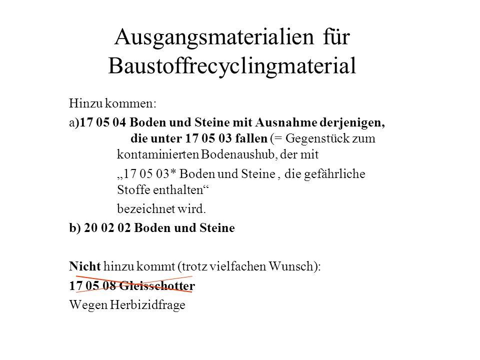 Ausgangsmaterialien für Baustoffrecyclingmaterial Hinzu kommen: a)17 05 04 Boden und Steine mit Ausnahme derjenigen, die unter 17 05 03 fallen (= Gege