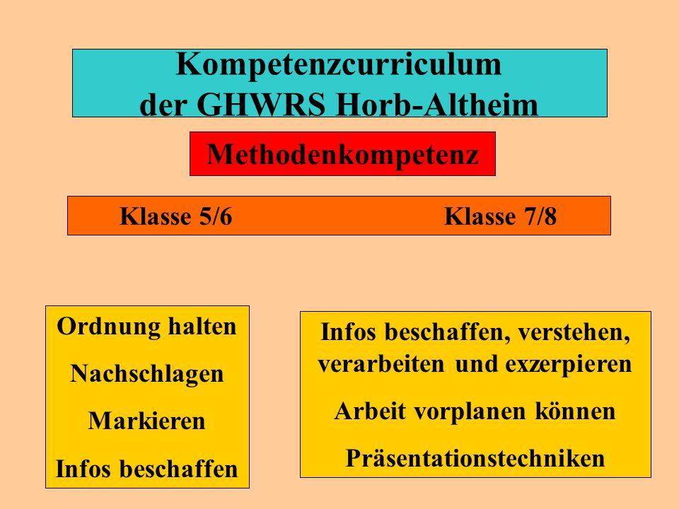 Kompetenzcurriculum der GHWRS Horb-Altheim Lesen Schreiben Rechnen Texte verstehen Klasse 5/6 Klasse 7/8 Fachkompetenz Texte verstehen Zusammenhänge e