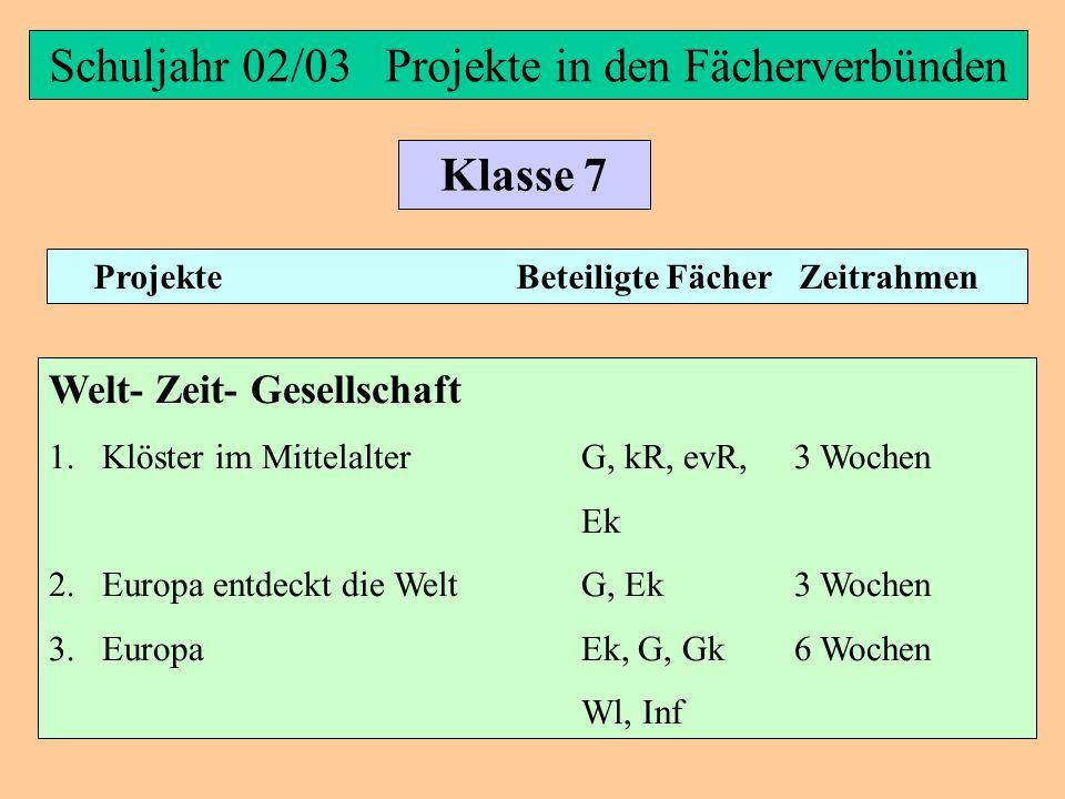 Schuljahr 02/03 Projekte in den Fächerverbünden Klasse 7 Projekte Beteiligte Fächer Zeitrahmen Materie- Natur- Technik 1.Stoffe und ihre Eigenschaften