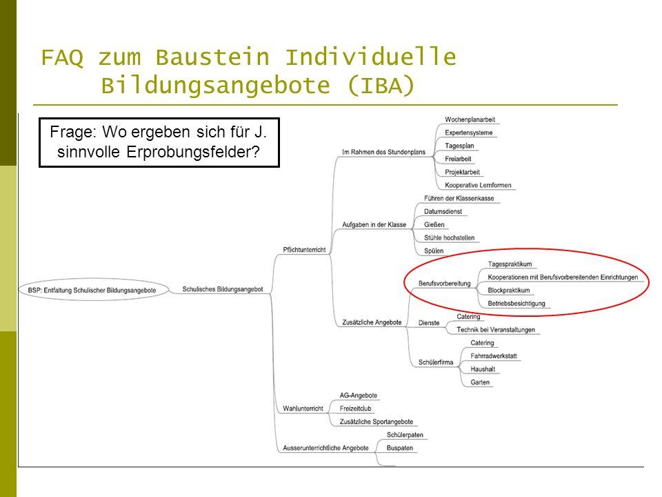FAQ zum Baustein Individuelle Bildungsangebote (IBA) Frage: Wo ergeben sich für J.