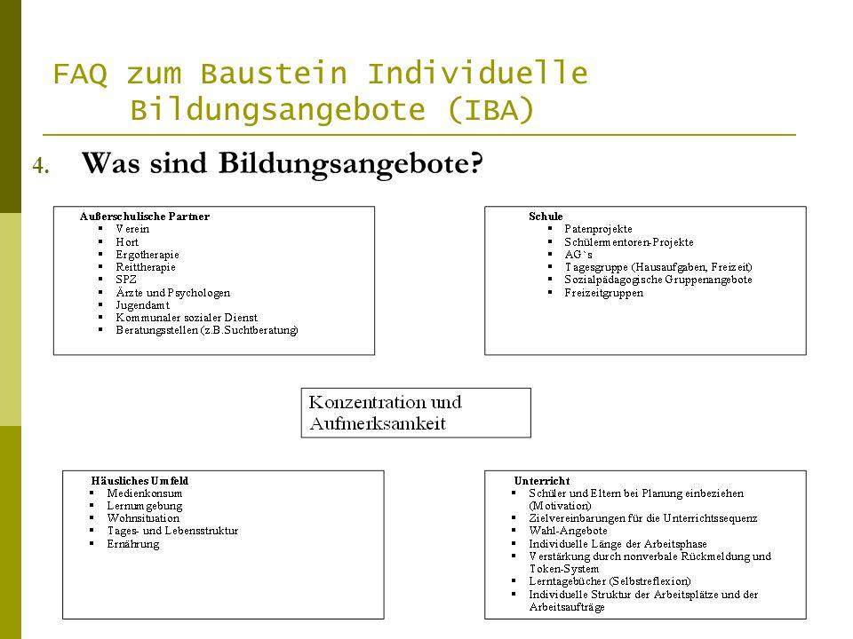FAQ zum Baustein Individuelle Bildungsangebote (IBA) 4. Was sind Bildungsangebote?