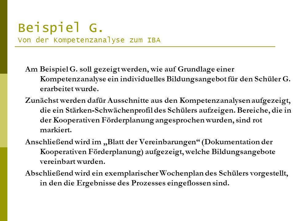 Beispiel G. Von der Kompetenzanalyse zum IBA Am Beispiel G. soll gezeigt werden, wie auf Grundlage einer Kompetenzanalyse ein individuelles Bildungsan