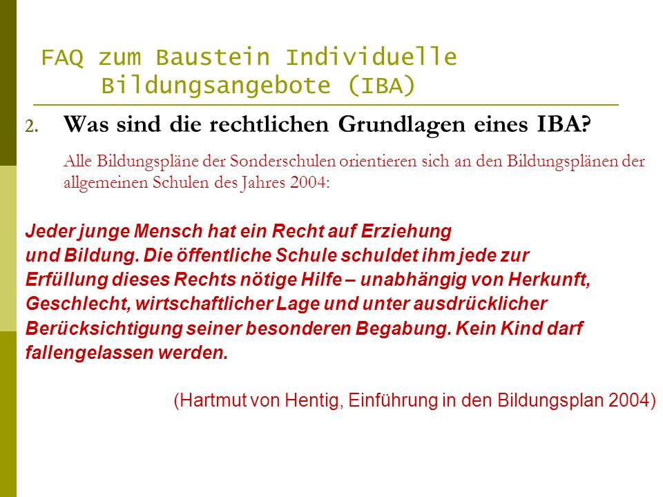 FAQ zum Baustein Individuelle Bildungsangebote (IBA) 2.