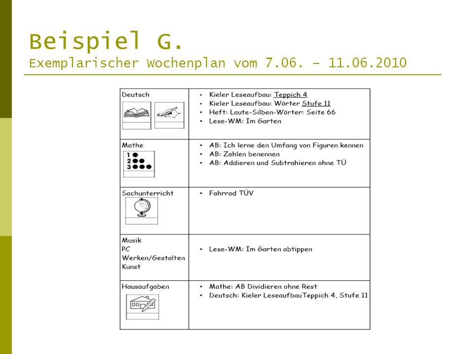Beispiel G. Exemplarischer Wochenplan vom 7.06. – 11.06.2010