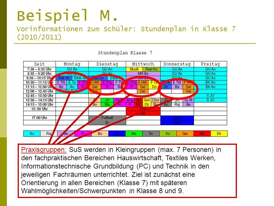 Beispiel M. Vorinformationen zum Schüler: Stundenplan in Klasse 7 (2010/2011) Praxisgruppen: SuS werden in Kleingruppen (max. 7 Personen) in den fachp