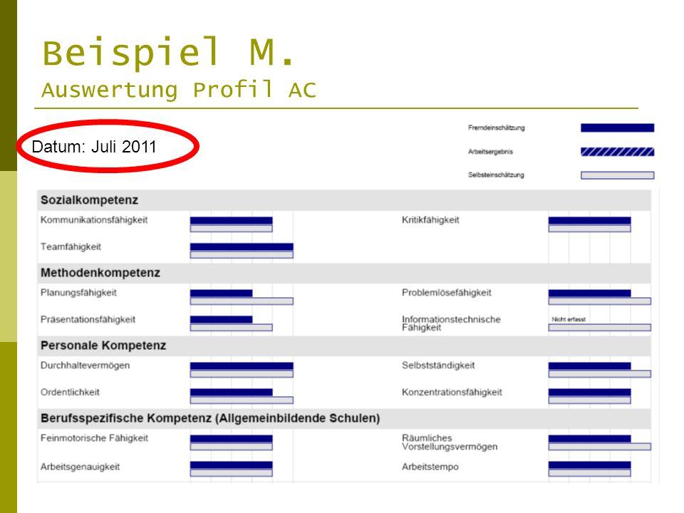 Beispiel M. Auswertung Profil AC Datum: Juli 2011