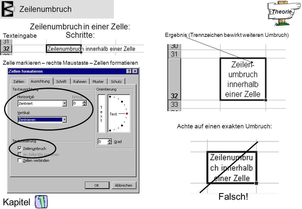 Kapitel Zeilenumbruch Zeilenumbruch in einer Zelle: Schritte: Achte auf einen exakten Umbruch: Texteingabe Zelle markieren – rechte Maustaste – Zellen