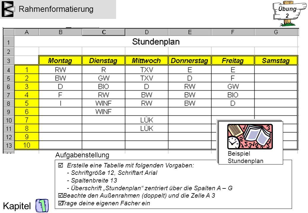 Kapitel Formatierungen und Berechnungen Gib folgende Daten in eine Excel-Arbeitsmappe ein: Berechne die Differenz zwischen Einnahmen und Ausgaben (D) und die Gesamtsummen (B15...) Lege die Zahlenformate fest (Negativzahlen automatisch in rot!) Formatiere die Zellen (Farbe verwenden) Aufgabenstellung Beispiel Meine finanzielle Situation Übung 3