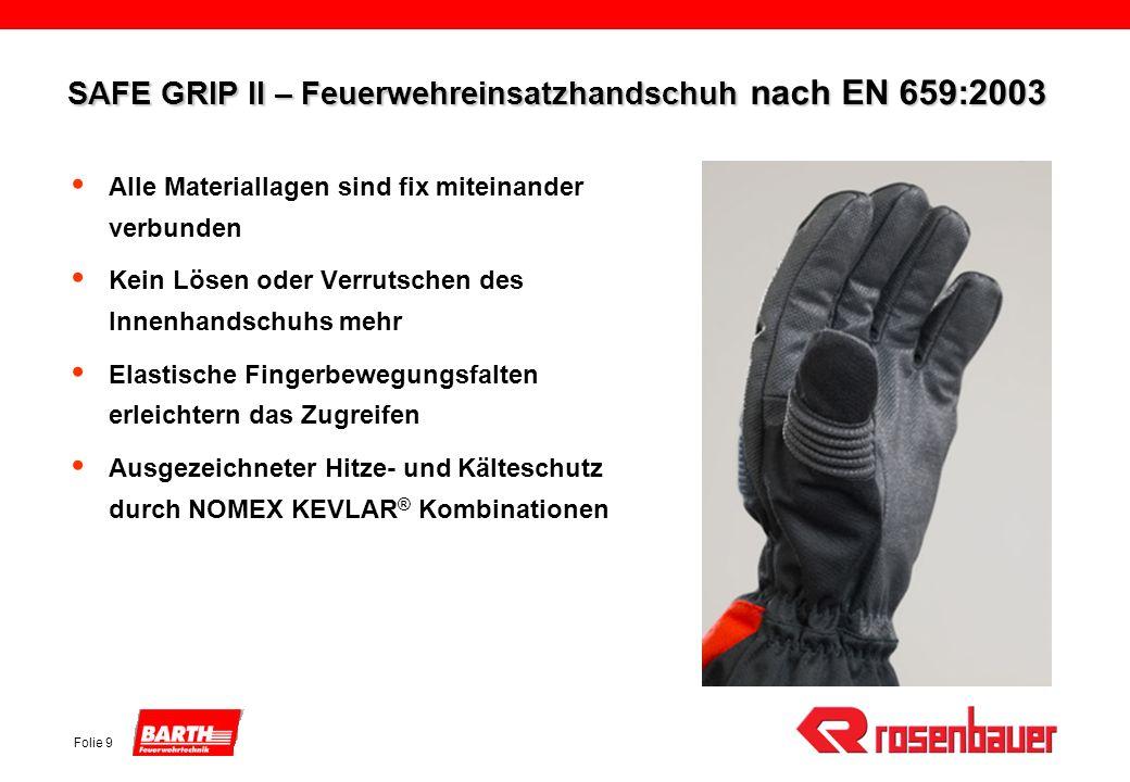 Folie 9 SAFE GRIP II – Feuerwehreinsatzhandschuh nach EN 659:2003 Alle Materiallagen sind fix miteinander verbunden Kein Lösen oder Verrutschen des In