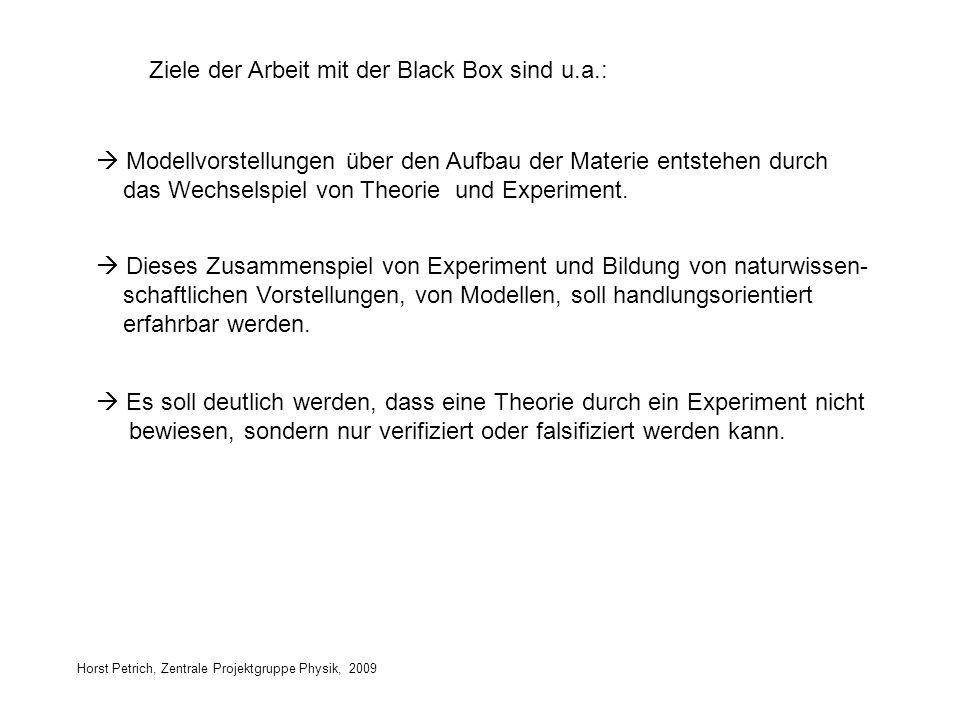 Horst Petrich, Zentrale Projektgruppe Physik, 2009 Ziele der Arbeit mit der Black Box sind u.a.: Dieses Zusammenspiel von Experiment und Bildung von n
