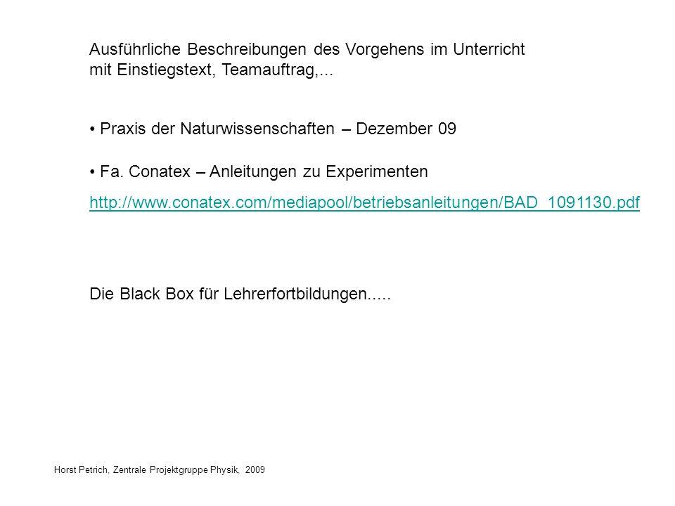 Horst Petrich, Zentrale Projektgruppe Physik, 2009 Ausführliche Beschreibungen des Vorgehens im Unterricht mit Einstiegstext, Teamauftrag,... Praxis d