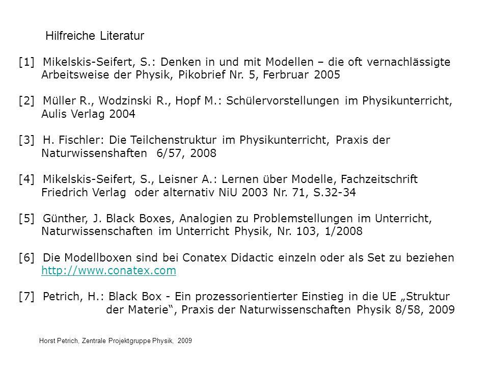 Horst Petrich, Zentrale Projektgruppe Physik, 2009 Hilfreiche Literatur [1] Mikelskis-Seifert, S.: Denken in und mit Modellen – die oft vernachlässigt