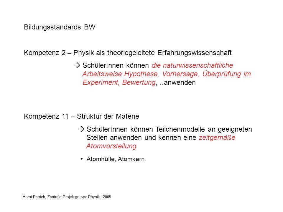 Horst Petrich, Zentrale Projektgruppe Physik, 2009 Bildungsstandards BW Kompetenz 2 – Physik als theoriegeleitete Erfahrungswissenschaft SchülerInnen