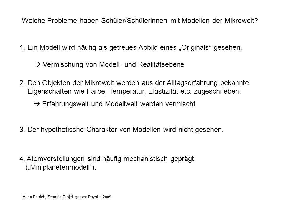 Horst Petrich, Zentrale Projektgruppe Physik, 2009 Welche Probleme haben Schüler/Schülerinnen mit Modellen der Mikrowelt? 1. Ein Modell wird häufig al
