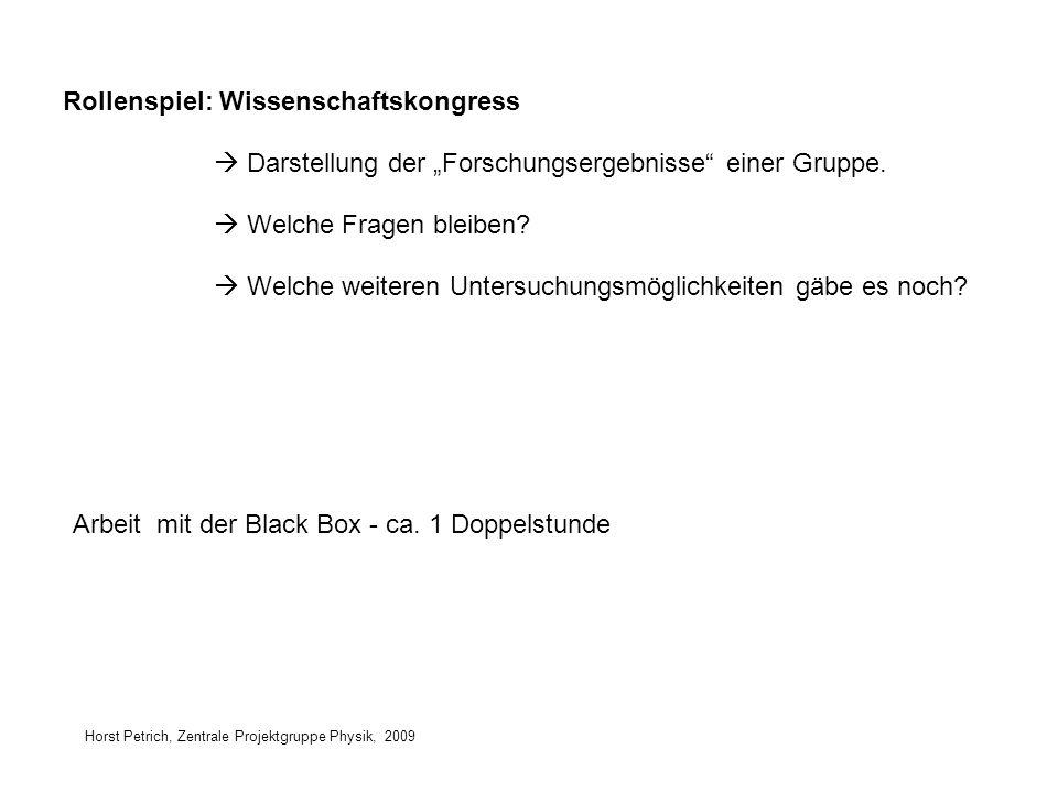 Horst Petrich, Zentrale Projektgruppe Physik, 2009 Rollenspiel: Wissenschaftskongress Arbeit mit der Black Box - ca. 1 Doppelstunde Darstellung der Fo