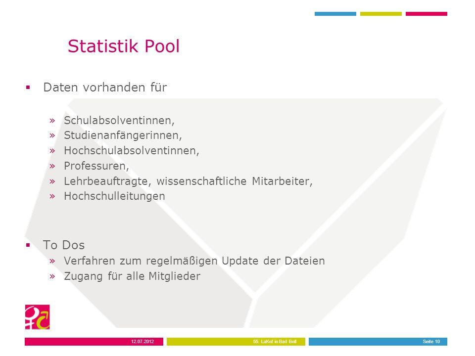 12.07.201255. LaKof in Bad BollSeite 10 Statistik Pool Daten vorhanden für »Schulabsolventinnen, »Studienanfängerinnen, »Hochschulabsolventinnen, »Pro