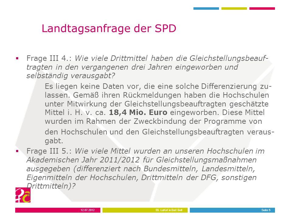 12.07.201255. LaKof in Bad BollSeite 5 Landtagsanfrage der SPD Frage III 4.: Wie viele Drittmittel haben die Gleichstellungsbeauf- tragten in den verg