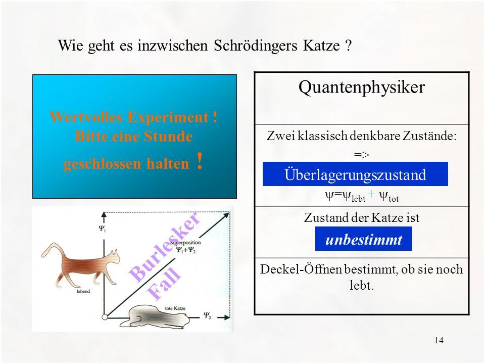 14 Wie geht es inzwischen Schrödingers Katze ? Wertvolles Experiment ! Bitte eine Stunde geschlossen halten ! Quantenphysiker Zwei klassisch denkbare