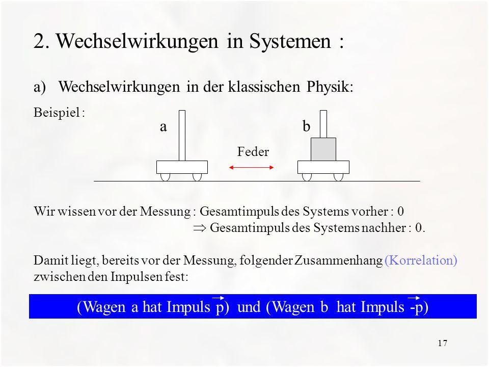 17 2. Wechselwirkungen in Systemen : a)Wechselwirkungen in der klassischen Physik: Beispiel : Wir wissen vor der Messung : Gesamtimpuls des Systems vo