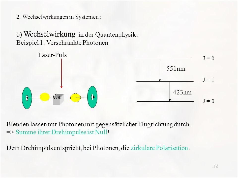 18 2. Wechselwirkungen in Systemen : b) Wechselwirkung in der Quantenphysik : Beispiel 1: Verschränkte Photonen J = 0 J = 1 J = 0 551nm 423nm Blenden