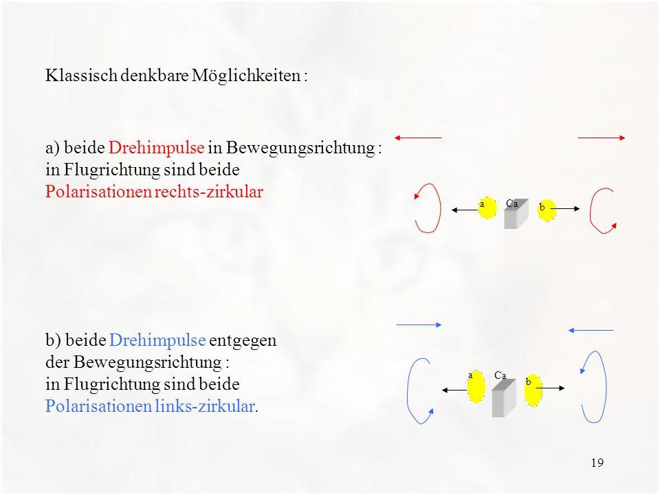 19 Klassisch denkbare Möglichkeiten : a) beide Drehimpulse in Bewegungsrichtung : in Flugrichtung sind beide Polarisationen rechts-zirkular Caa b b) b