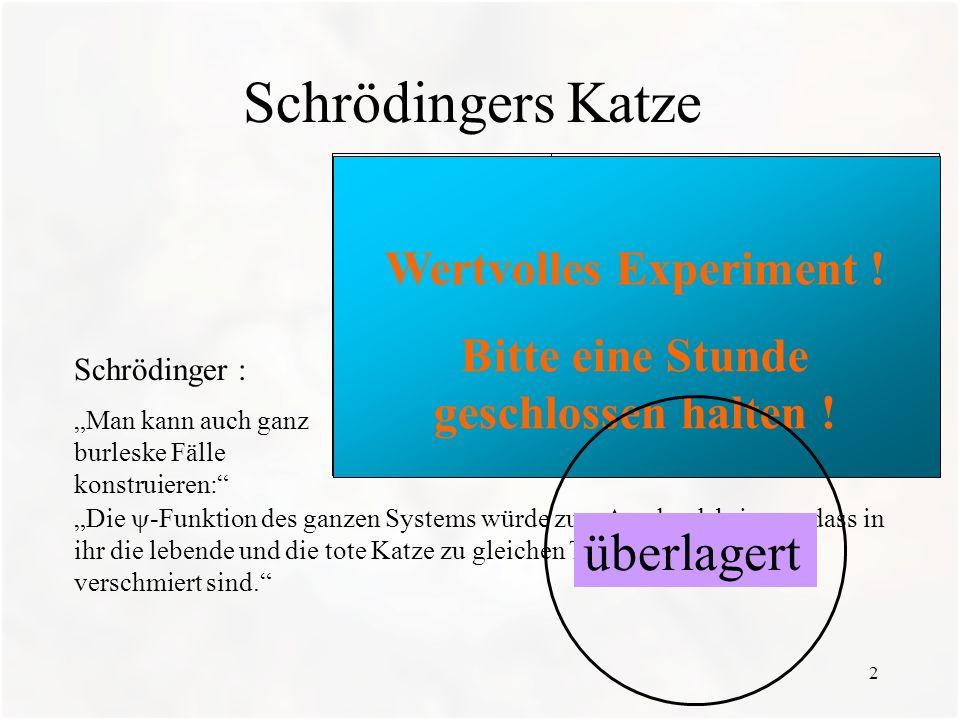 13 c) Wie geht es inzwischen Schrödingers Katze .