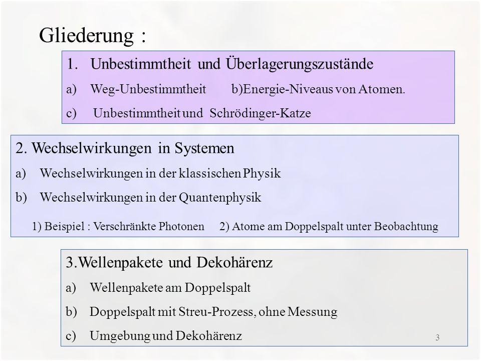 3 Gliederung : 1.Unbestimmtheit und Überlagerungszustände a)Weg-Unbestimmtheit b)Energie-Niveaus von Atomen. c) Unbestimmtheit und Schrödinger-Katze 2