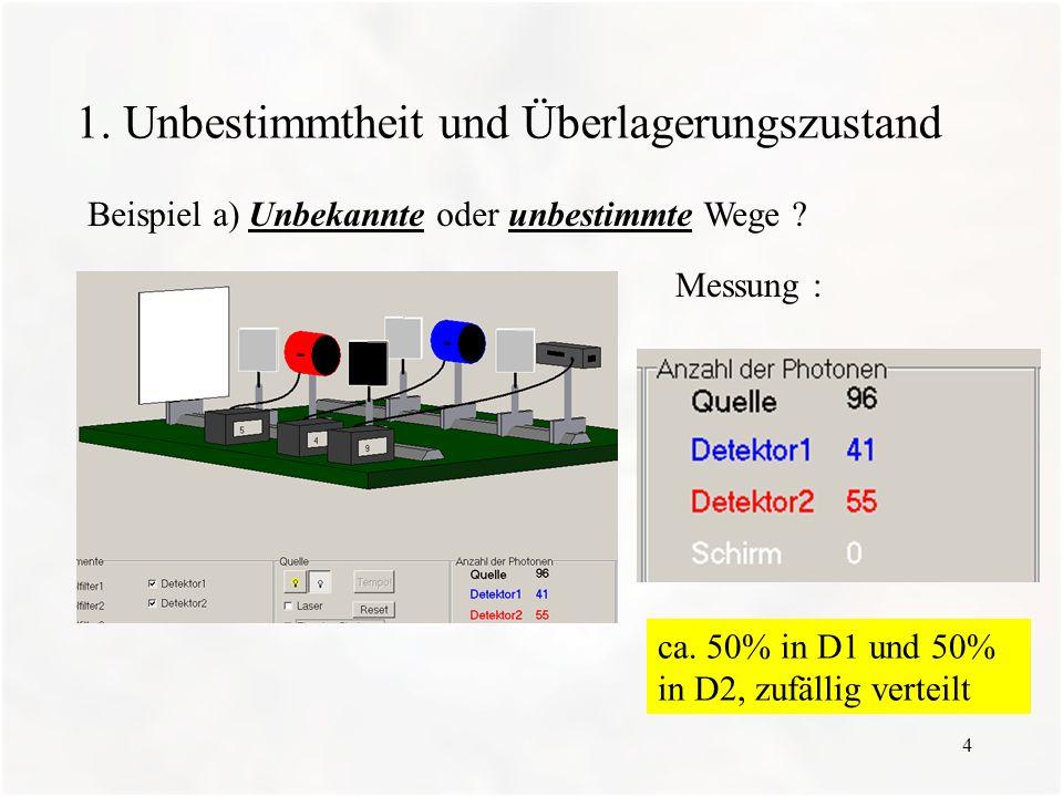 4 1. Unbestimmtheit und Überlagerungszustand Beispiel a) Unbekannte oder unbestimmte Wege ? Messung : ca. 50% in D1 und 50% in D2, zufällig verteilt