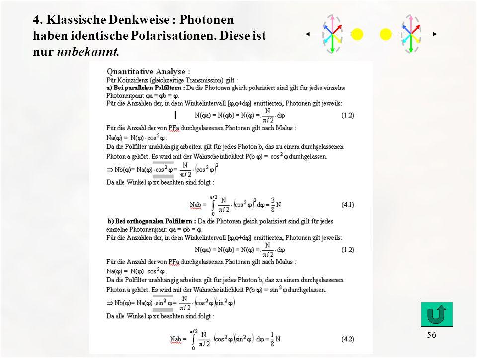 56 4. Klassische Denkweise : Photonen haben identische Polarisationen. Diese ist nur unbekannt.