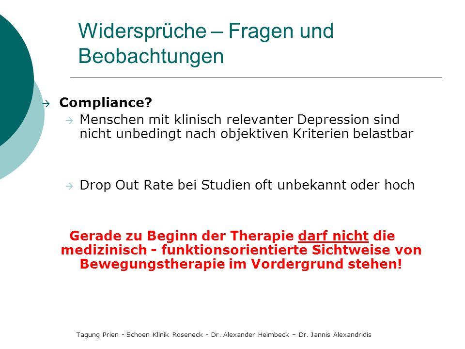 Compliance? Menschen mit klinisch relevanter Depression sind nicht unbedingt nach objektiven Kriterien belastbar Drop Out Rate bei Studien oft unbekan