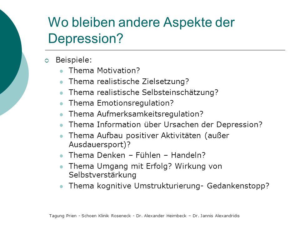 Wo bleiben andere Aspekte der Depression? Beispiele: Thema Motivation? Thema realistische Zielsetzung? Thema realistische Selbsteinschätzung? Thema Em