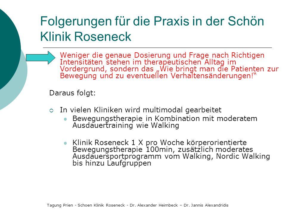 Folgerungen für die Praxis in der Schön Klinik Roseneck Weniger die genaue Dosierung und Frage nach Richtigen Intensitäten stehen im therapeutischen A