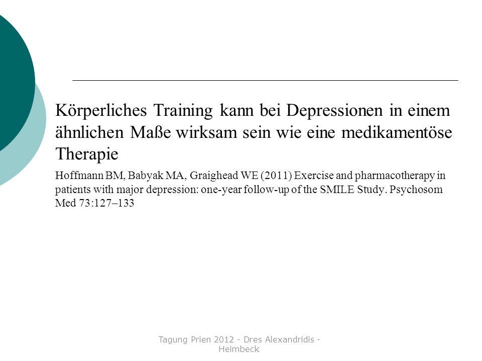 Körperliches Training kann bei Depressionen in einem ähnlichen Maße wirksam sein wie eine medikamentöse Therapie Hoffmann BM, Babyak MA, Graighead WE