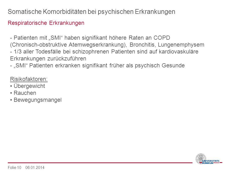 Somatische Komorbiditäten bei psychischen Erkrankungen Respiratorische Erkrankungen Folie 10 06.01.2014 - Patienten mit SMI haben signifikant höhere R
