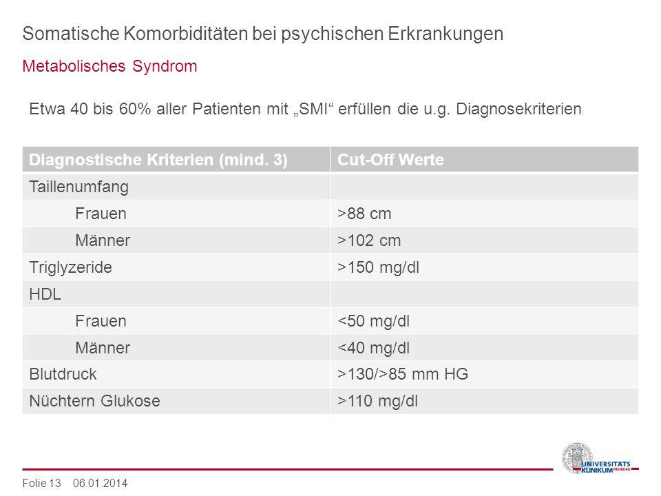 Somatische Komorbiditäten bei psychischen Erkrankungen Metabolisches Syndrom Folie 13 06.01.2014 Etwa 40 bis 60% aller Patienten mit SMI erfüllen die