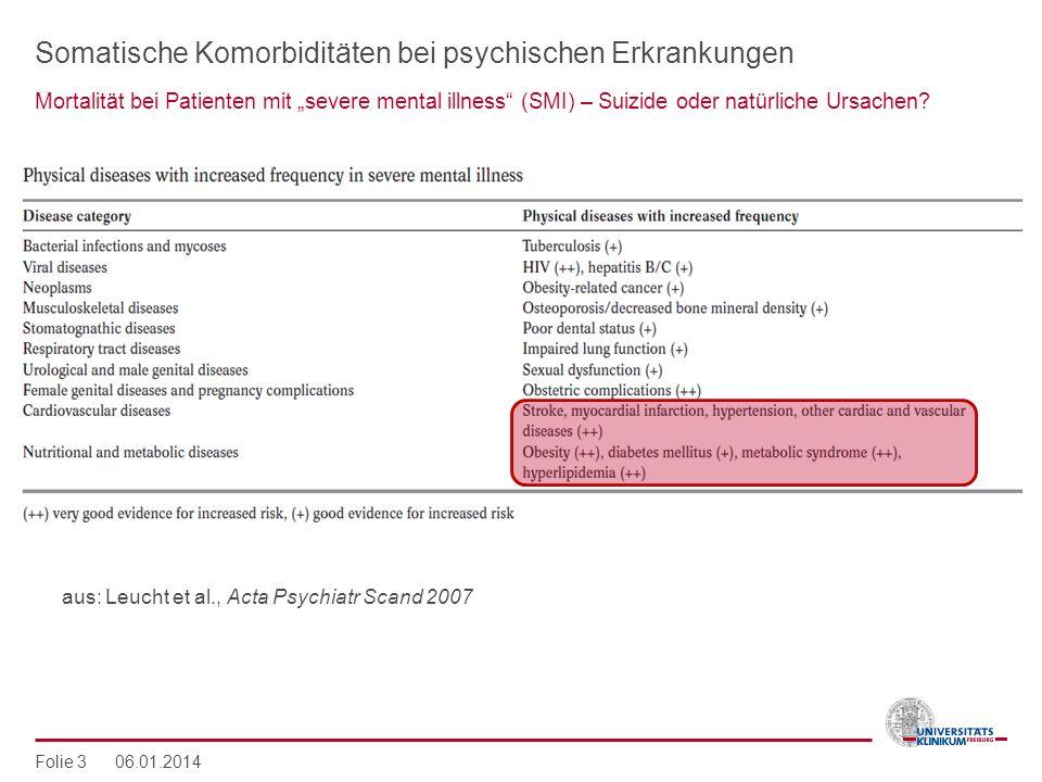 Somatische Komorbiditäten bei psychischen Erkrankungen Mortalität bei Patienten mit severe mental illness (SMI) – Suizide oder natürliche Ursachen? Fo