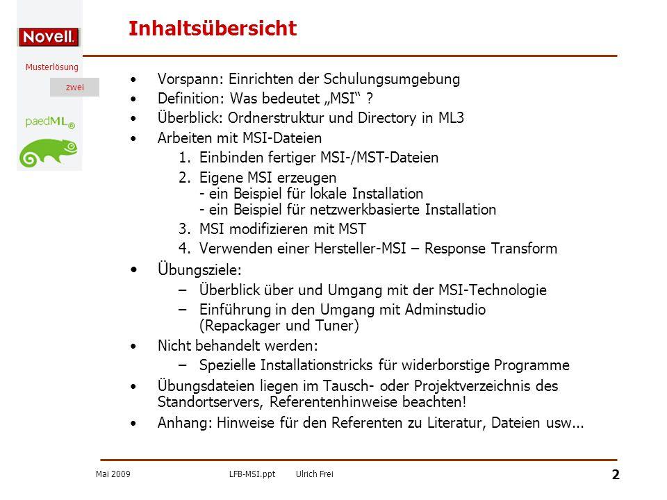 Mai 2009LFB-MSI.pptUlrich Frei zwei Musterlösung zwei 23 Zusammenfassung Die MSI-Technik ist die momentan am meisten verwendete Installationstechnik MSI-Anwendungen sind selbstheilend Die Anwendungen können lokal oder serverbasiert installiert werden Man kann fertige MSI-Dateien verwenden oder MSI-Dateien selbst erzeugen Fertige MSI-Dateien können mit einer MST-Datei getunt werden d.h.