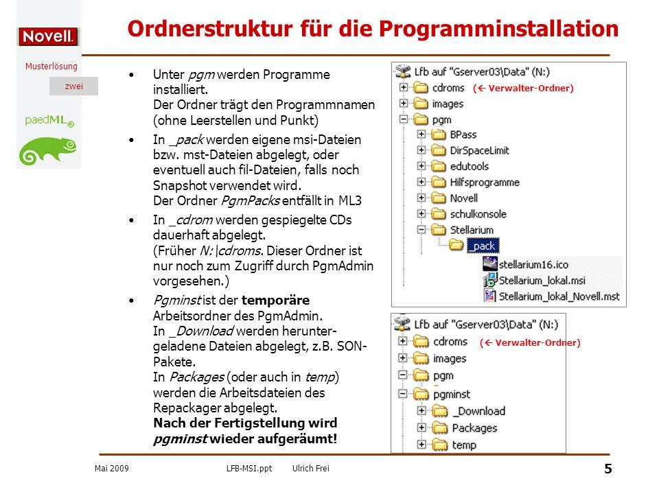 Mai 2009LFB-MSI.pptUlrich Frei zwei Musterlösung zwei 6 eDirectory-Struktur (ML3) Für die Rechtevergabe an ein Anwendungsobjekt (Allgemein/Dateirechte) navigiert man unter Server.DIENSTE.ml3 zum Volume gserver03_DATA und vergibt für den Programmordner Rechte zum Lesen und zur Dateiabfrage Anwendungsobjekte werden unterhalb von Anwendungen in der jeweiligen Schule angelegt.