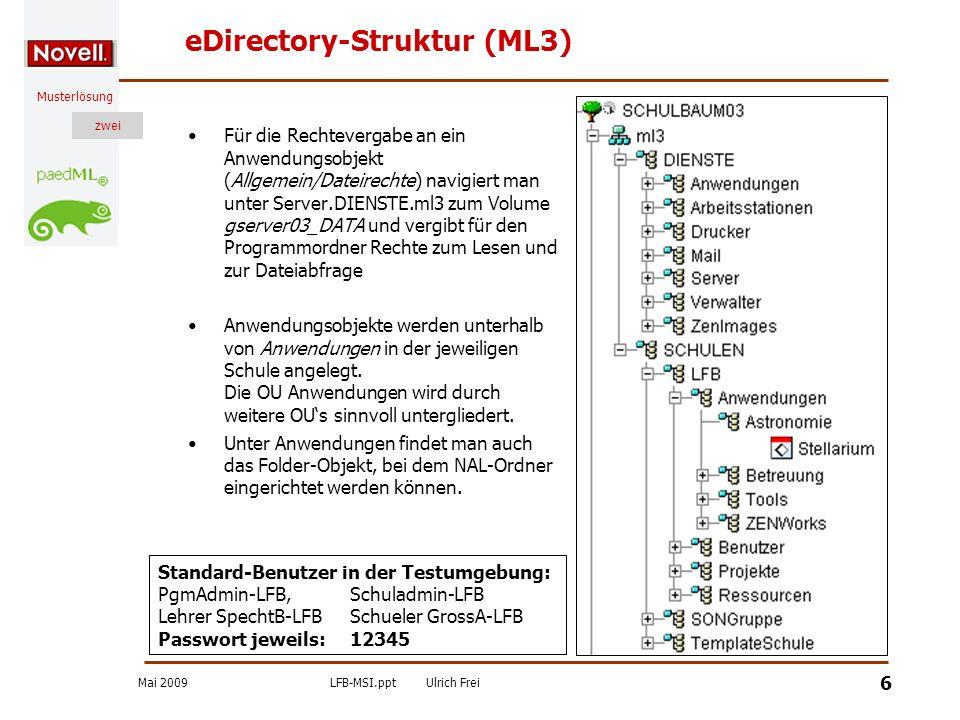 Mai 2009LFB-MSI.pptUlrich Frei zwei Musterlösung zwei 6 eDirectory-Struktur (ML3) Für die Rechtevergabe an ein Anwendungsobjekt (Allgemein/Dateirechte