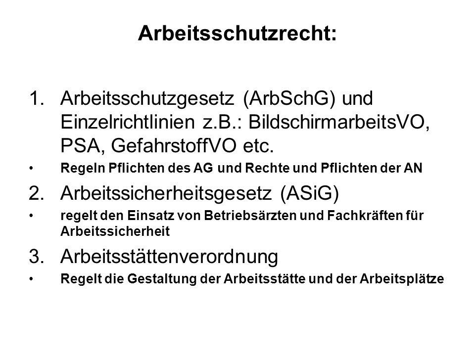 Arbeitsschutzrecht: 1.Arbeitsschutzgesetz (ArbSchG) und Einzelrichtlinien z.B.: BildschirmarbeitsVO, PSA, GefahrstoffVO etc. Regeln Pflichten des AG u