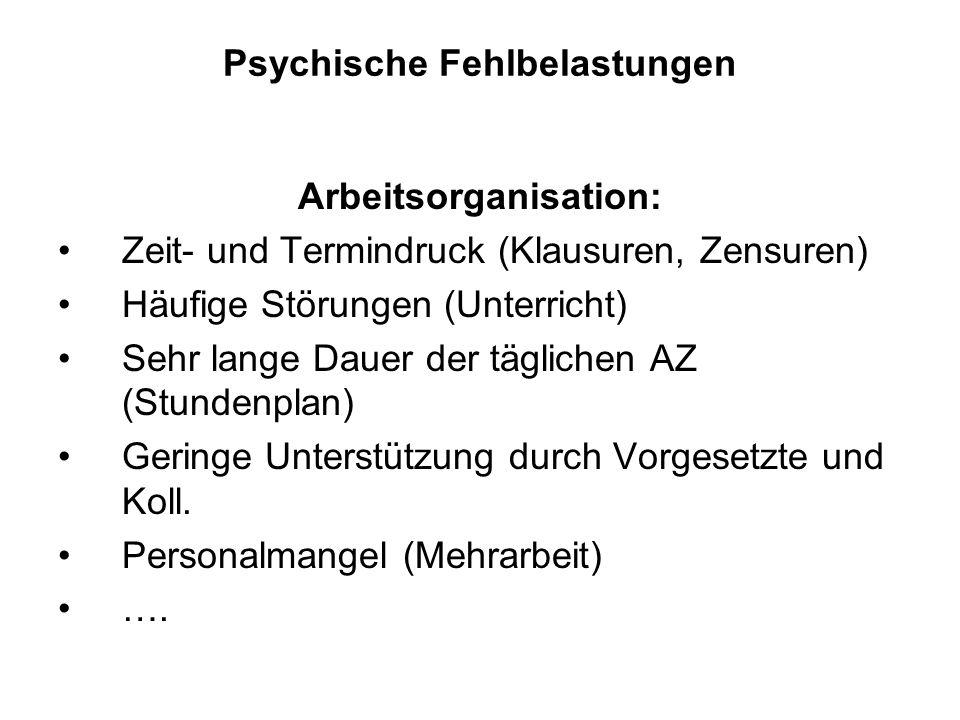 Psychische Fehlbelastungen Arbeitsorganisation: Zeit- und Termindruck (Klausuren, Zensuren) Häufige Störungen (Unterricht) Sehr lange Dauer der täglic