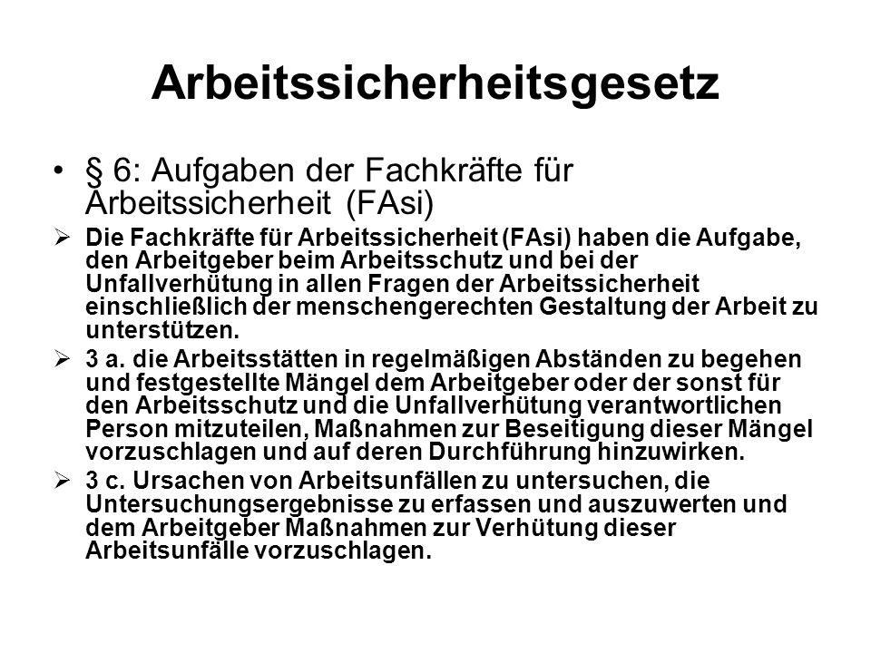 Arbeitssicherheitsgesetz § 6: Aufgaben der Fachkräfte für Arbeitssicherheit (FAsi) Die Fachkräfte für Arbeitssicherheit (FAsi) haben die Aufgabe, den