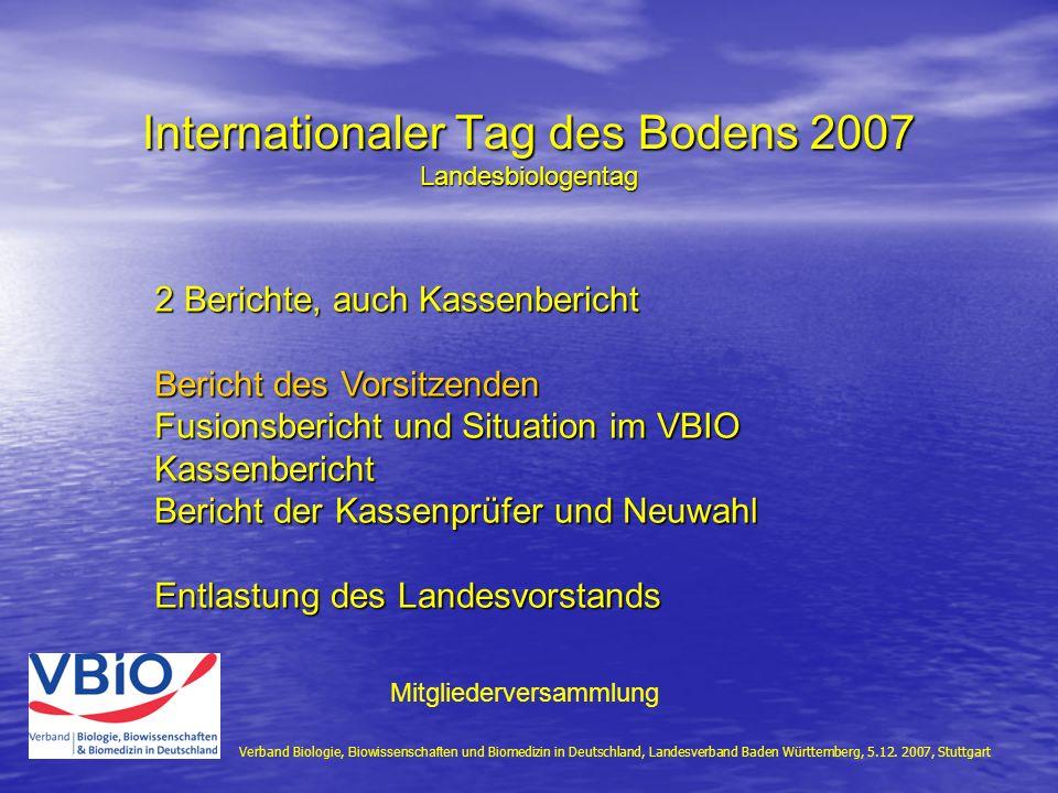 Internationaler Tag des Bodens 2007 Landesbiologentag Verband Biologie, Biowissenschaften und Biomedizin in Deutschland, Landesverband Baden Württembe